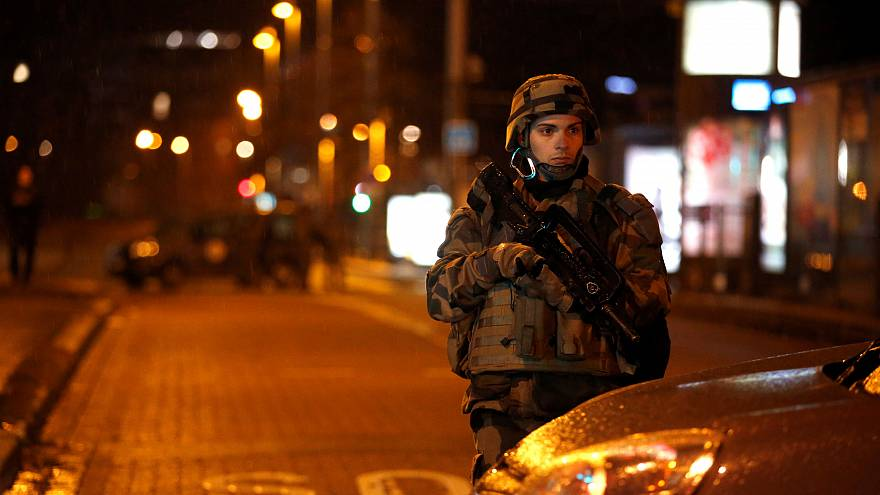 A soldier on the street in Strasbourg