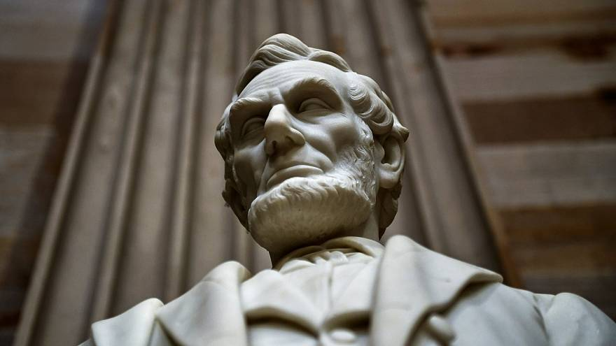 Lincoln statue stands inside U.S. Capitol in Washington