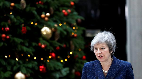 Theresa May outside Downing Street, London on Dec 12, 2018.