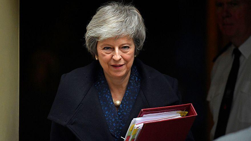 Theresa May saliendo de Downing Street esta mañana