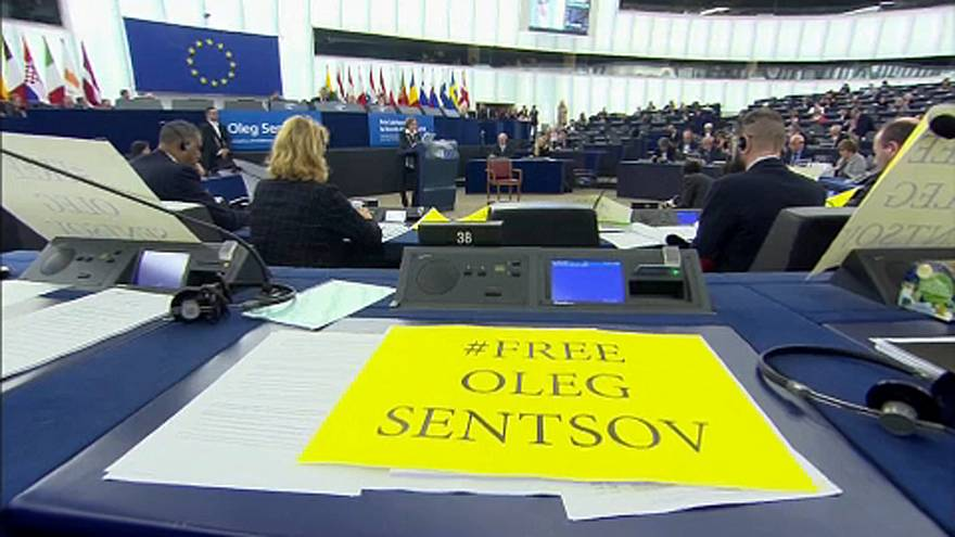 Empty chair at ceremony for Oleg Sentsov at European Parliament