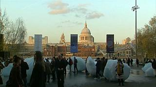 Greenland ice blocks melt in London for climate awareness