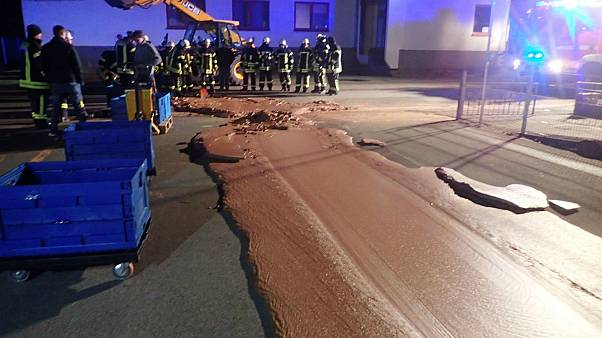German street turns into scene from Charlie and the Chocolate Factory after spill