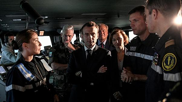 """Emmanuel Macron visits the aircraft carrier """"Charles de Gaulle"""" in Toulon"""