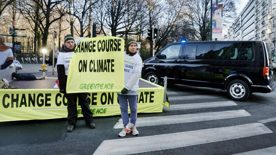 Protesters block politicians at COP24 climate conference in Poland
