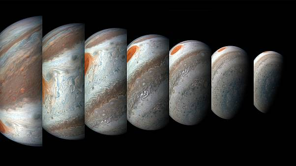 A tropical disturbance passes Jupiter's iconic Great Red Spot