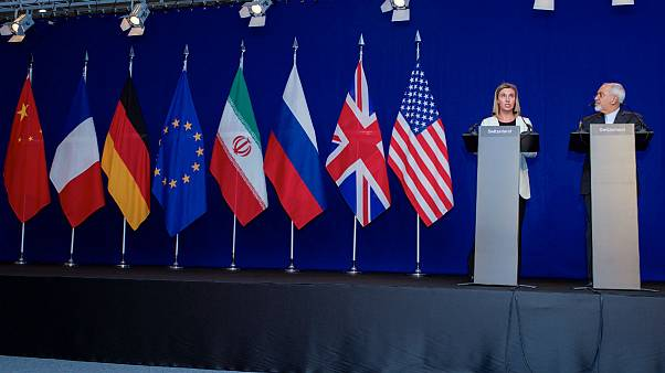 ظریف، وزیر امور خارجه ایران و موگرینی، کمیسر روابط بینالملل اتحادیه اروپا