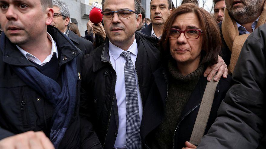 Jordi Turull, junto a su esposa Blanca Bragulat, salen del Tribunal Supremo