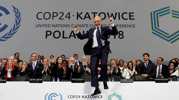 Michal Kurtyka jumps for joy as a deal is announced