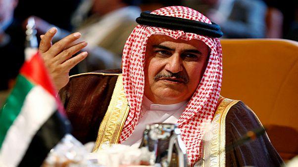 وزير خارجية البحرين خالد بن أحمد آل خليفة في المنامة 12 أبريل نيسان 2018
