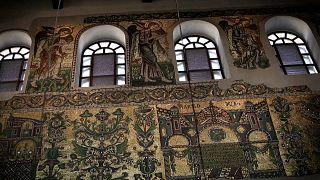 Отреставрированные мозаики XII века в Вифлееме