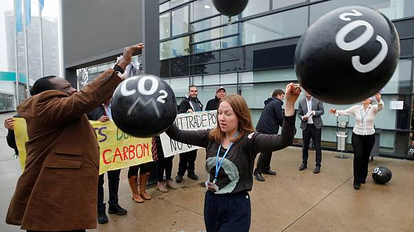 Activists protest against carbon dioxide emissions