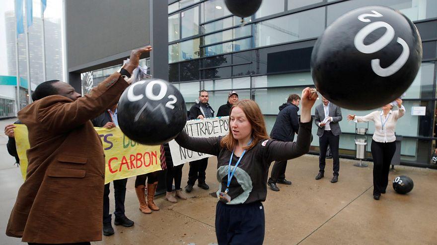 Activists protest against carbon dioxide emissions