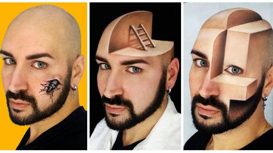 چهرهپردازی که صورت خود را تبدیل به نقاشی سهبعدی میکند