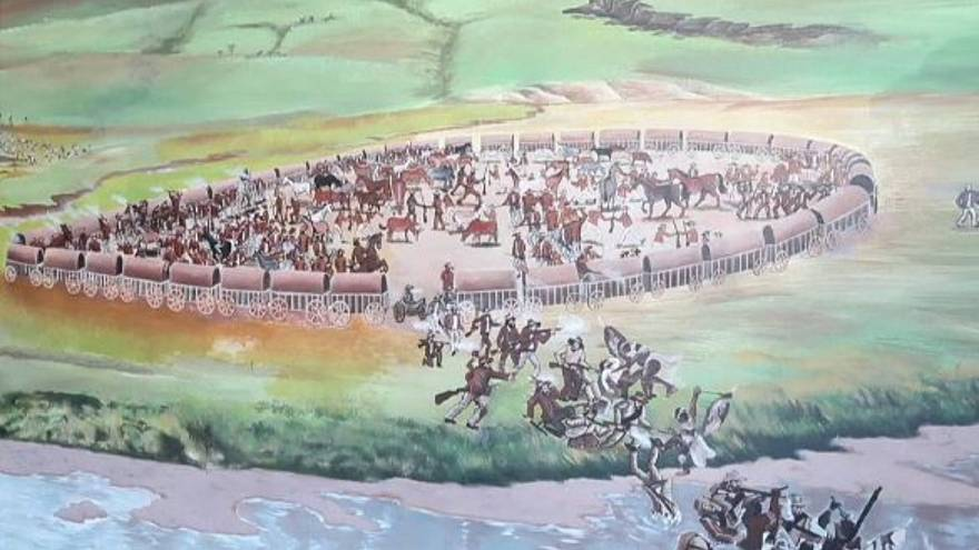 A mural of The Battle of Blood River