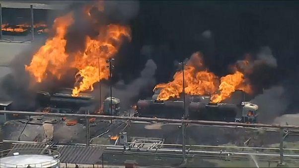 شاهد: حريق يلتهم مصفاة لتكرير النفط في البرازيل