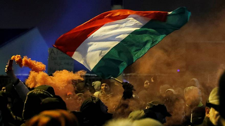 Protesters at Budapest in Hungary