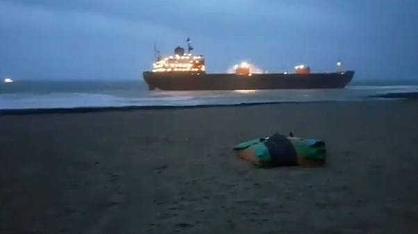 Russian cargo ship runs aground on the Cornwall coast