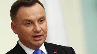 Poland's President Andrzej Duda speaks during a news conference