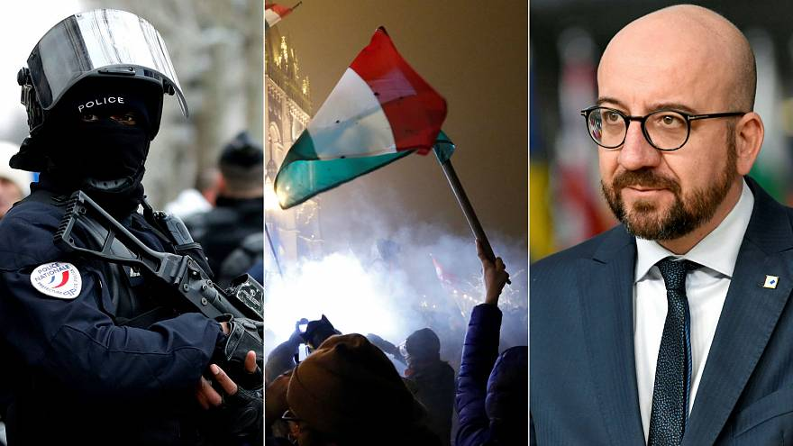 A French police officer, Hungarian protesters, Belgian PM Charles Michel