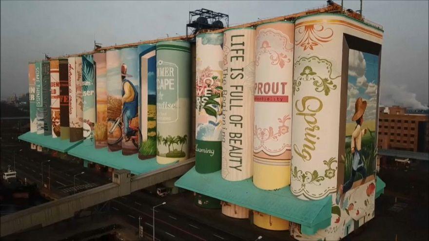 سیلوهای کره جنوبی تبدیل به بزرگترین نقاشی دیواری جهان شدند