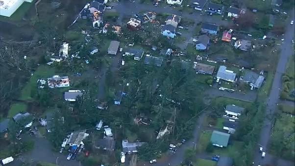 Rare tornado damages homes in Washington state