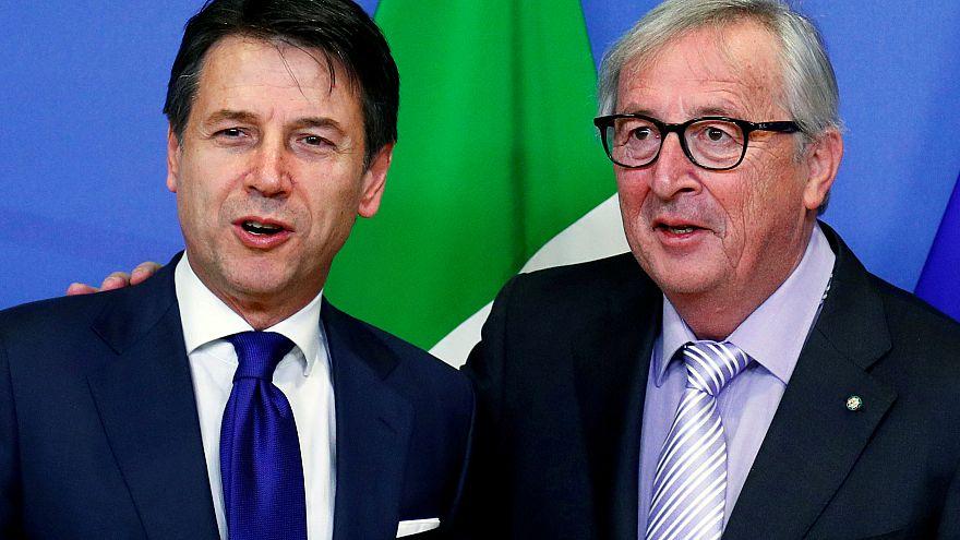 Italian PM Giuseppe Conte and Jean-Claude Juncker