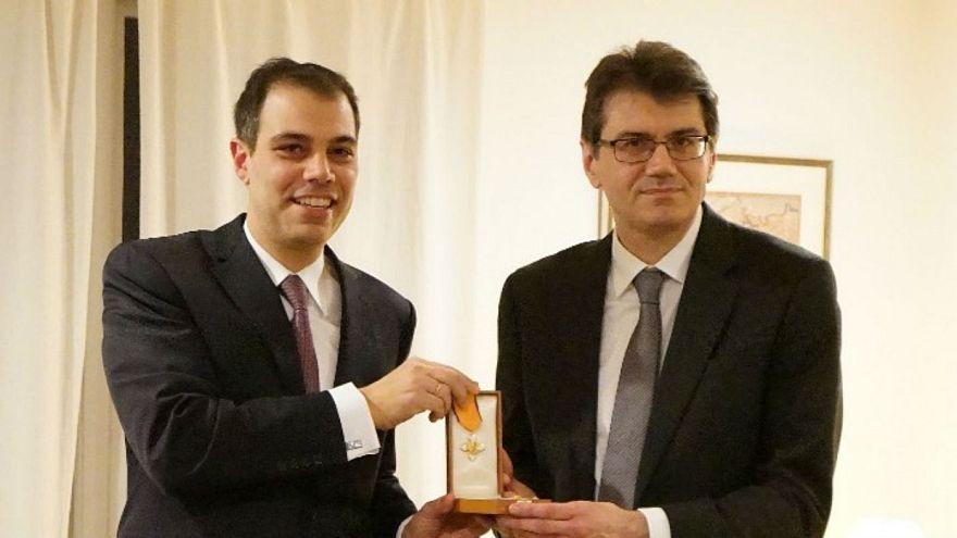 Ο Ερ. Κατσαβουνίδης (δεξιά) με τον Γεν. Πρόξενο στη Βοστώνη Στρ. Ευθυμίου