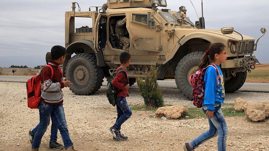 U.S. troops patrol near Turkish border in Hasakah, Syria November 4, 2018.
