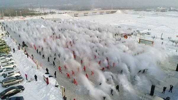 En Chine, un spectacle d'eau et de neige magique