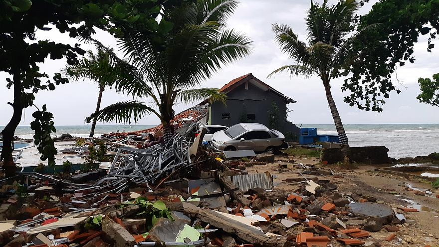 The aftermath of the tsunami is seen in Banten Province