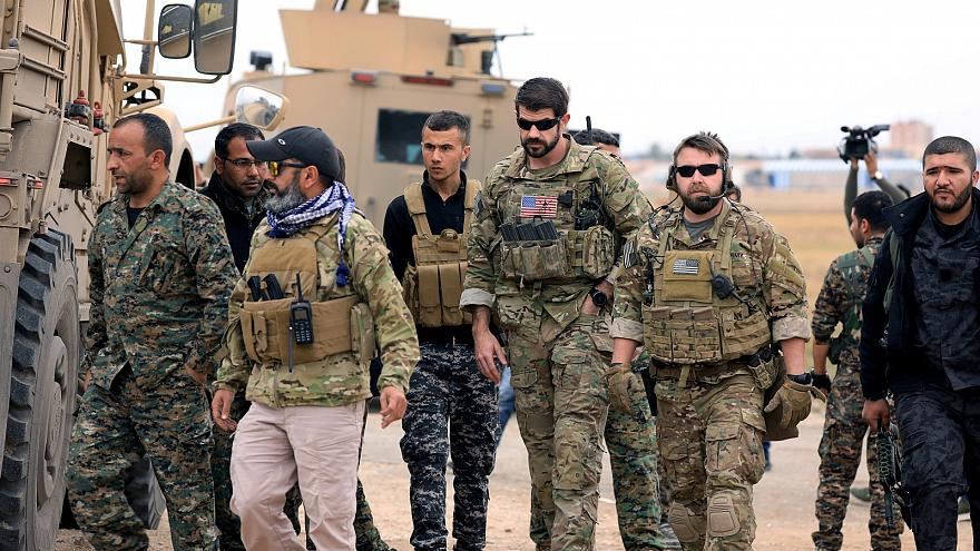 Syrian Democratic Forces and U.S. troops near Turkish border in Hasakah
