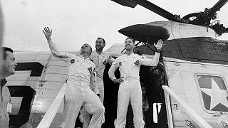 Die Astronauten Frank Borman, James A. Lovell Jr. und William A. Anders