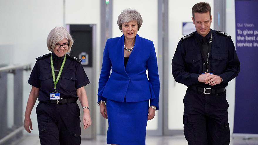 Theresa May visits the UK Border Force Command Centre at Heathrow Airport.
