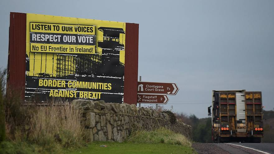A lorry crosses the Irish border into Northern Ireland.