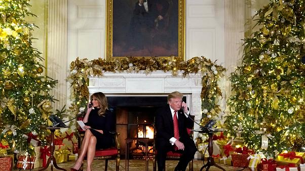 Donald and Melania Trump answer calls to NORAD on Dec 24, 2018.