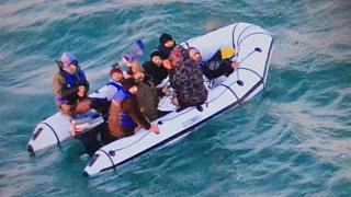 Small boat with people on board spotted off France