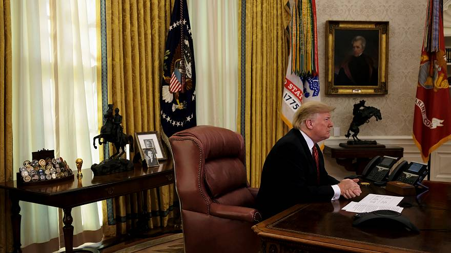 U.S. President Donald Trump holds a video call in the Oval Office