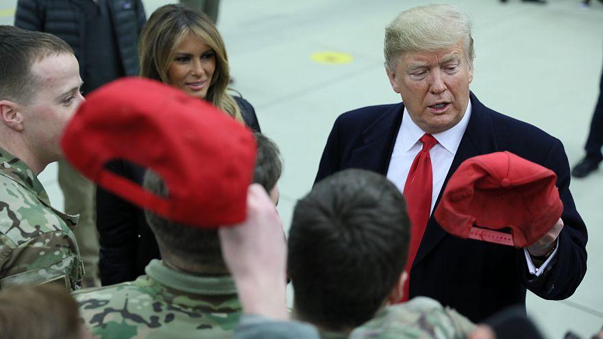 Donald Trump visita a los militares estadounidenses en la base alemana de Ramstein