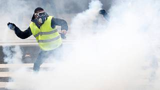A Yellow vest protester clashes with police in Nantes on Dec 22, 2018.