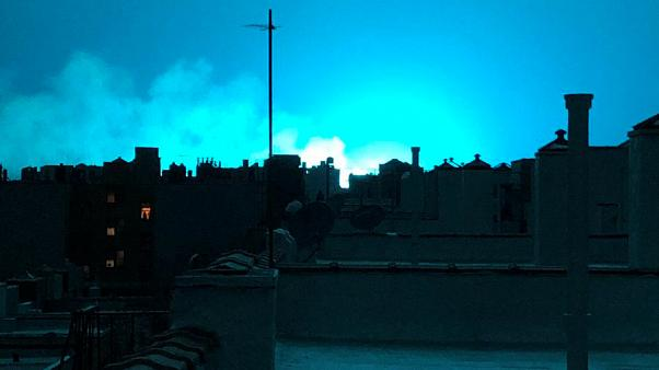 Festival of blue lights over New York after explosion at power plant