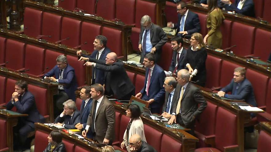 Watch: Budget battle as scuffles erupt in Italian parliament