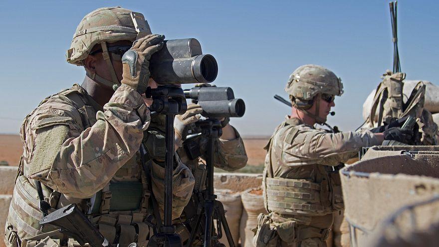 US troops on patrol in Manbij, Syria.