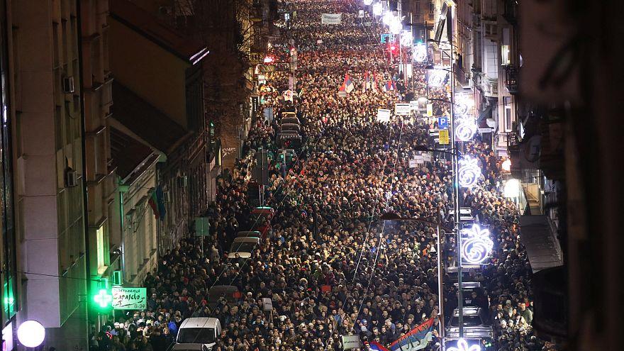 Protestas en Belgrado contra el Gobierno, sábado 29 de diciembre