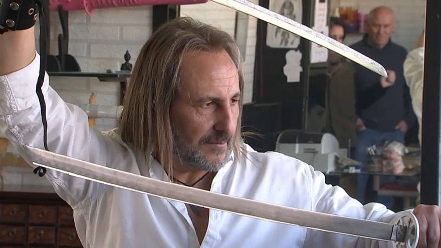 Spain's 'ninja hairdresser' uses swords and blowtorches to service clients