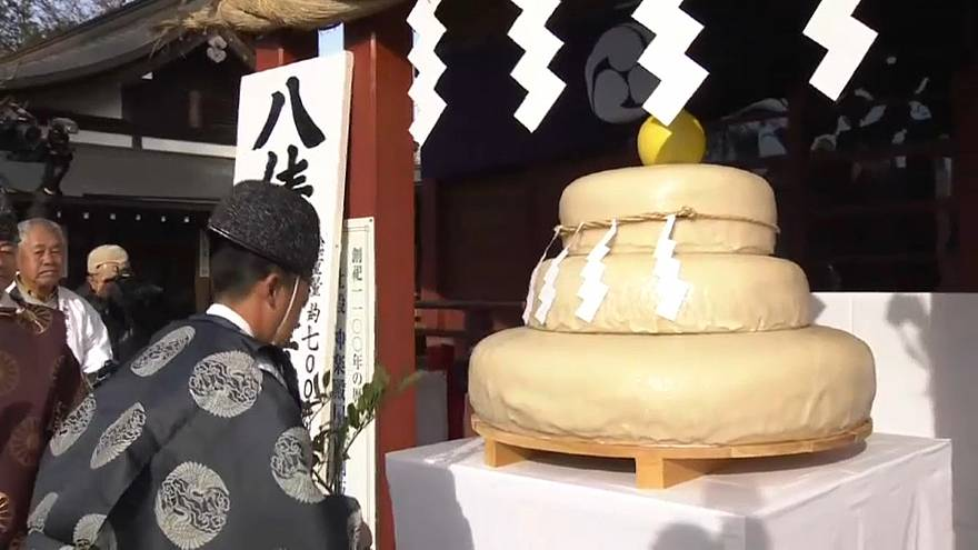 Watch: A giant rice cake at a shrine north of Tokyo to pray for a good harvest year