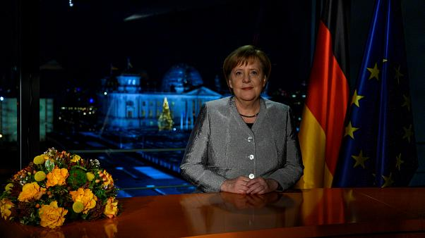 Chancellor Merkel after the recording of her annual New Year's speech