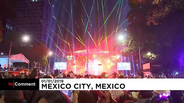 Lasers replace fireworks for Mexico City New Year's Eve celebrations