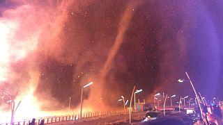 Swirls of fire near a New Year's bonfire in Scheveningen in The Hague