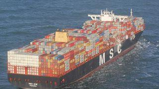 Die MSC Zoe in der Nordsee